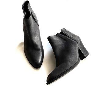Franco Sarto Genuine Leather Agenda Black Booties